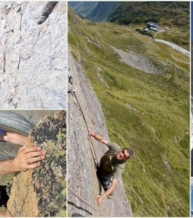 Neben den Klettergärten bietet die Hüttenumgebung auch recht interessante alpine Klettertouren.