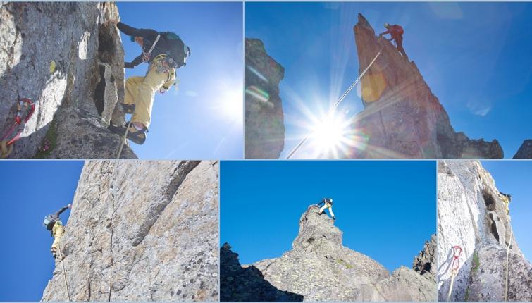 Am Ostgrat der Berlasspitze- mit ca 18 Seillängen und Stellen im unteren 6. Schwierigkeitsgrad ein recht anspruchsvolles Unternehmen.