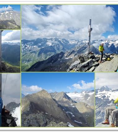 Der Anstieg auf Hohe Villerspitze ist wenn auch recht spärlich mit Bohrhaken eingerichtet!