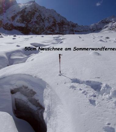 Der Wintereinbruch brachte auf den Gletschern bis zu 50cm nNeuschnee!